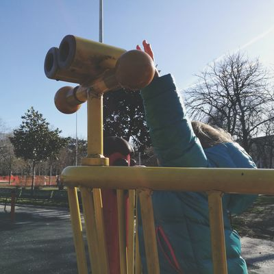 Explore Exploring Exploring New Ground Explore The World Childhood Child Toddler  Toddlerlife Toddler Life Child Exploring Discovering Discover The World Child Discovery Toddler Perspective (Looking At Life As A 3 Year-old) Toddler Perspective Toddler Playing Playing Child Playing Playground Playground Equipment Tree Clear Sky Sky