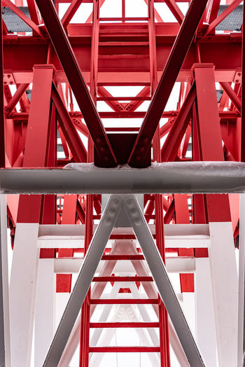 Pylon, red and white painted steel tower. the fragments showing the details of construction