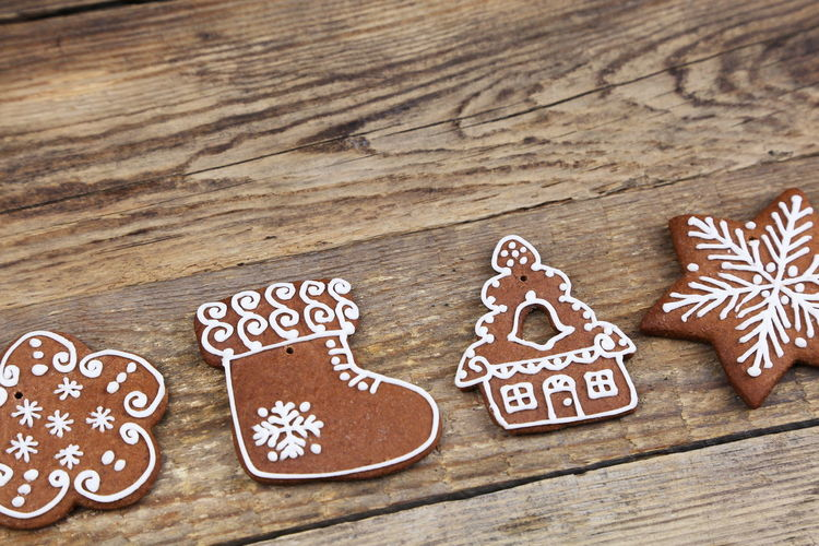 Close-Up Of Gingerbread Cookies On Table
