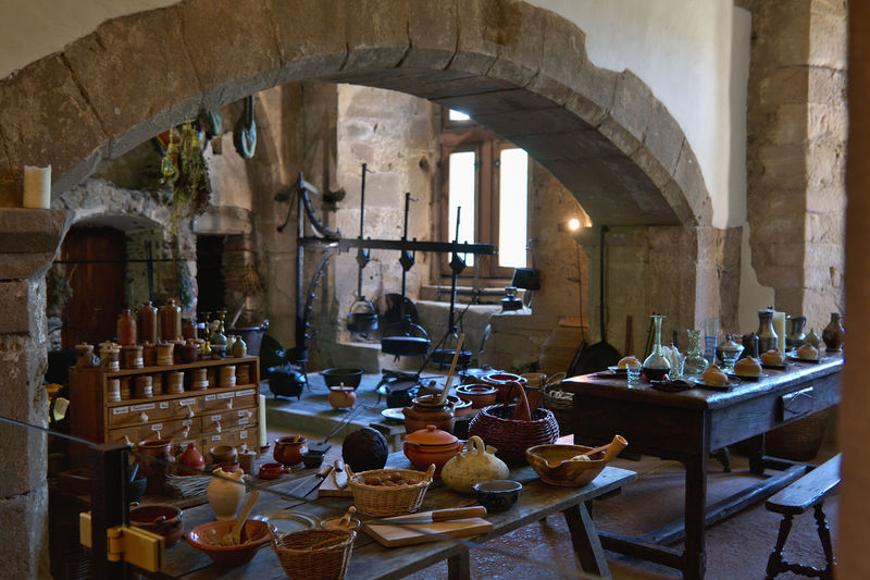 Arch Architecture Built Structure Castle Day Indoors  Large Group Of Objects No People Table Vianden Vianden Castle