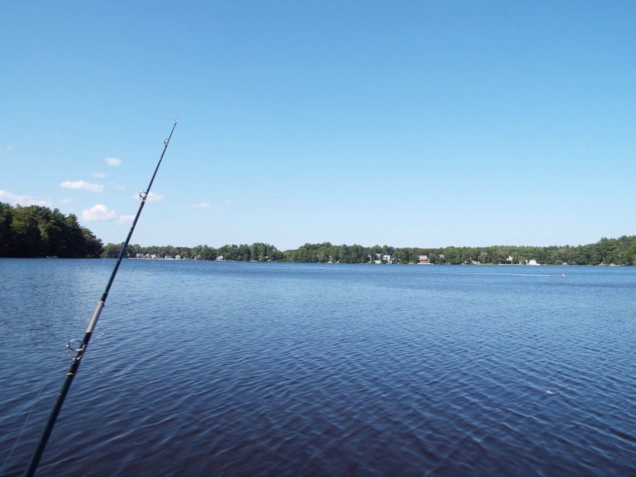 Fishing Rod By River Against Sky
