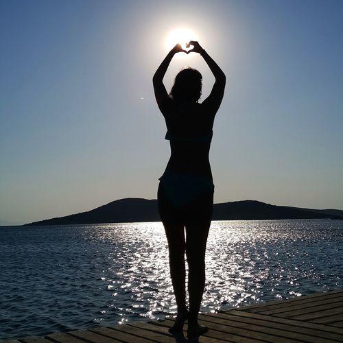 Silhouette Water Arms Raised Sea Beach Standing Sky Nature Women