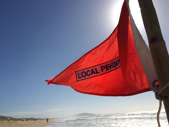 Flag Red Day Sand Outdoors Beach Sea No People Nature Water Sky