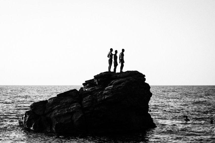 Sea Blackandwhite Silhouette Young