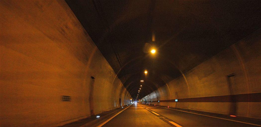 Illuminated road tunnel