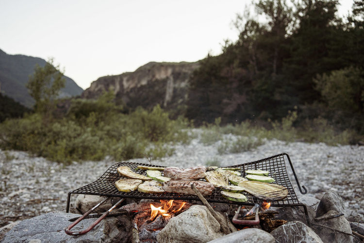 Wild barbecue on rocks with mountains view