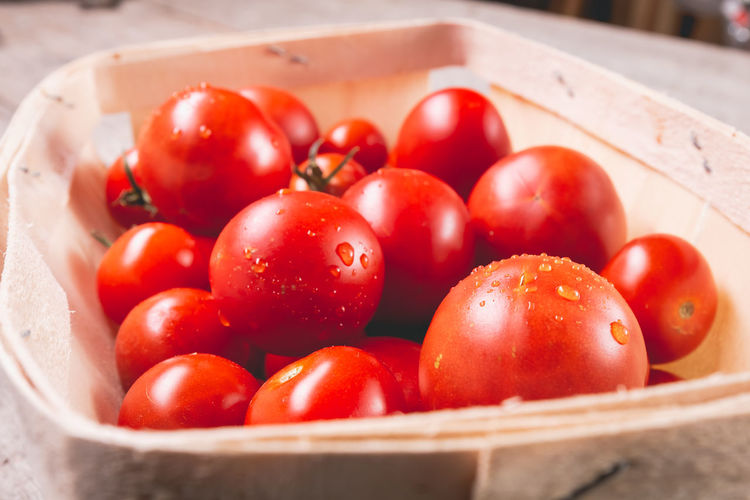 Close-up of tomatoes in basket