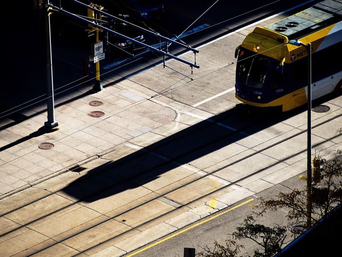 High Angle View Of Tram On Sunny Day