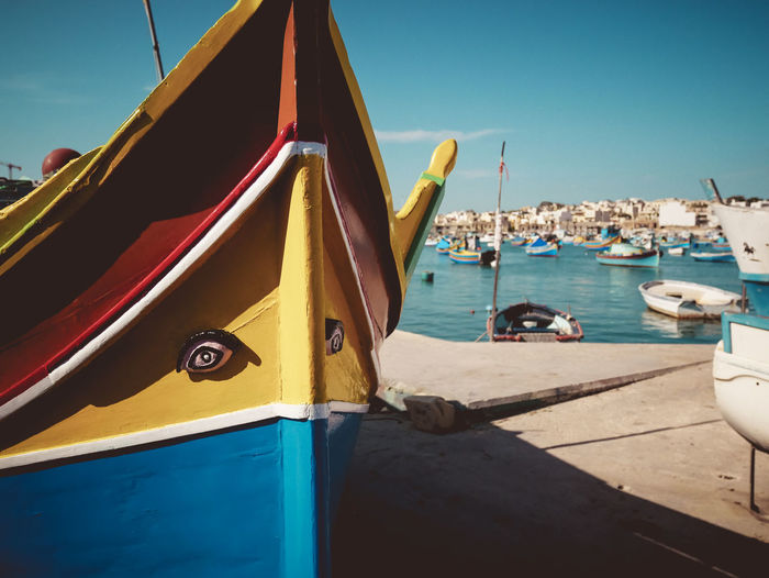 Architecture Blue Boat Colorful Day Eyes Harbor Misterious Mode Of Transportation Moored Nature Nautical Vessel No People Outdoors Sailboat Sea Sky Sunlight Transportation Vertebrate Water Yellow