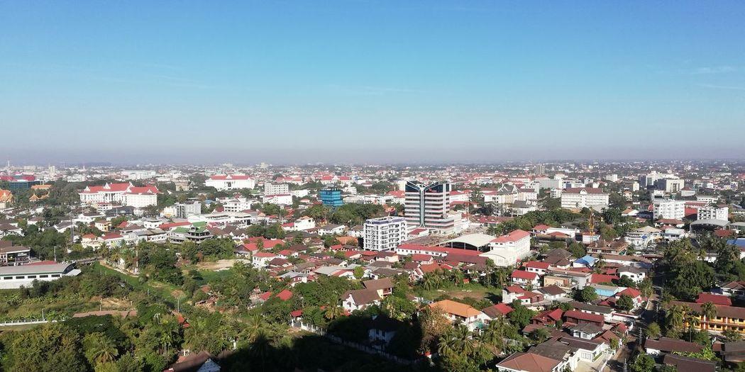 Vientiane capital, Lao PDR Landscape Cityscape City Tree High Angle View Clear Sky Aerial View Sky TOWNSCAPE Housing Settlement Rooftop Tiled Roof  Town