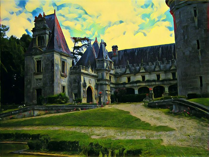 Old castle and fresh rose illustration The Towers Castle Image Technic From France Illustration Old Walls Yellow Sky Crimson Large Passage Flowers And Frontage Sky Architecture Building Exterior Grass Built Structure Cloud - Sky Medieval