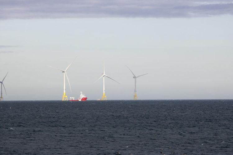Wind turbines by sea against sky