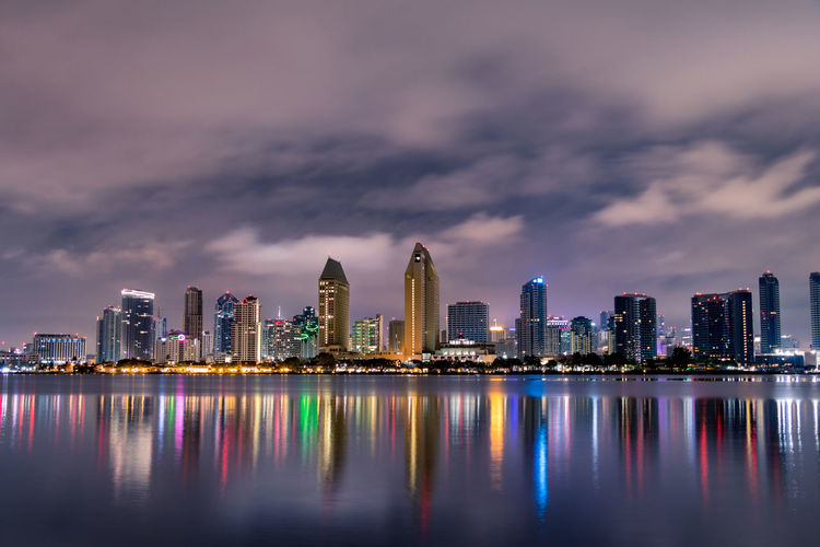 Downtown San Diego and Bay City Night Cloudy Downtown San Diego Water Waterfront California Long Exposure West Coast Dark Latte Beautiful Builiding No People Urban Skyline