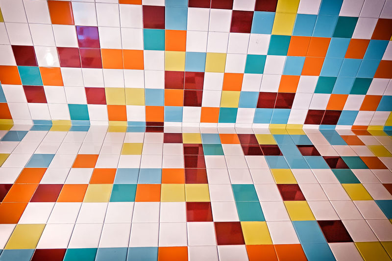 Full frame shot of colorful tiled floor