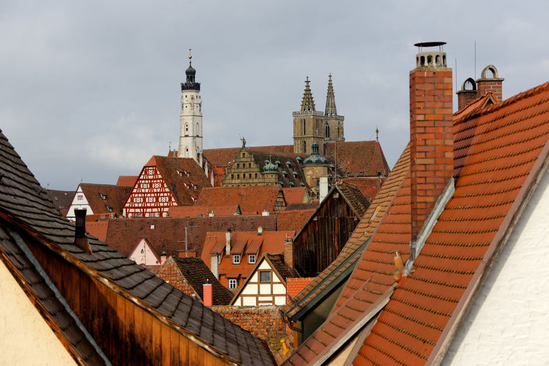Rothenburg ob der Tauber. Rothenburg Ob Der Tauber Architecture Belief Building Building Exterior Built Structure City Cityscape Day High Angle View Nature No People Outdoors Place Of Worship Religion Residential District Roof Roof Tile Rothenburg Ob Der Tauber Sky Spire  Spirituality Travel Destinations