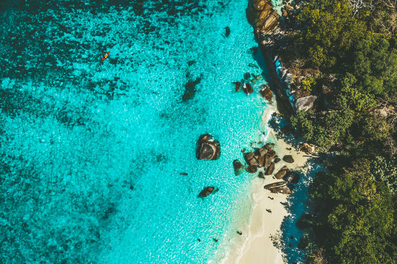 Aerial View of Boulder Island, Myanmar Sea Beach Water Nature Holiday Blue Travel Day Stone Outdoors Rock Trip Paddle Land Aerial View Beauty In Nature Indian Ocean Andaman Idyllic Boats⛵️ Tranquil Scene Turquoise Colored Scenics - Nature Boulder Island Nga Khin Nyo Island