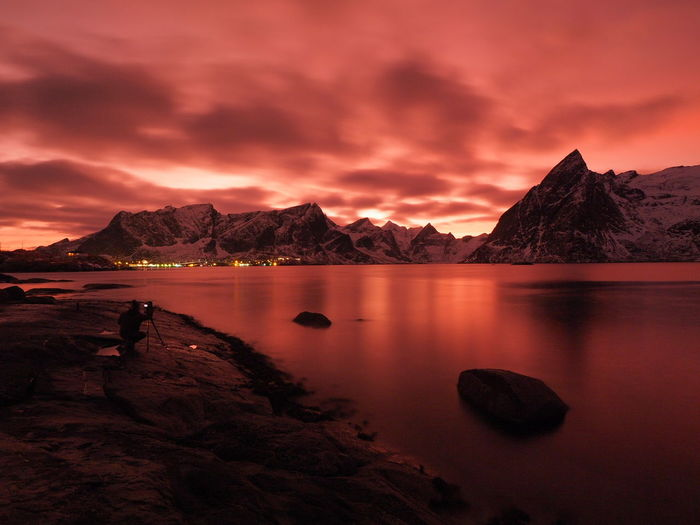 Red Sunset _ Reine Rabuer _ Lofoten Islands _ Norway EyeEm Selects Mountain Water Sunset Lake Nautical Vessel Reflection Astronomy Harbor Dramatic Sky Sky Romantic Sky Moody Sky Atmospheric Mood Seascape Dramatic Landscape Coastal Feature Atmosphere Tide Low Tide Majestic Mountain Peak