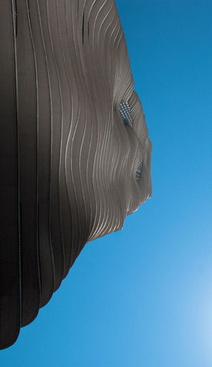Architecture Abstract Blue Building Curves Looking Up Low Angle View