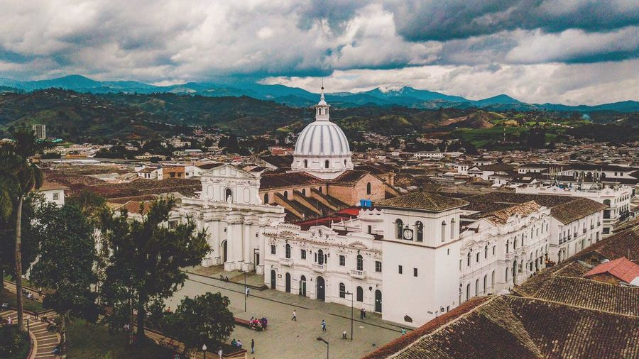 Architecture Dronephotography Drone  Park Fromthesky Colonial Colonial Architecture Colombia Popayán South America Travel Destinations Cityscape Travel City Travelingtheworld  Skyline Travel Photography Dome Built Structure Building Exterior Sky Cloud - Sky High Angle View Outdoors Mountain Day No People Nature