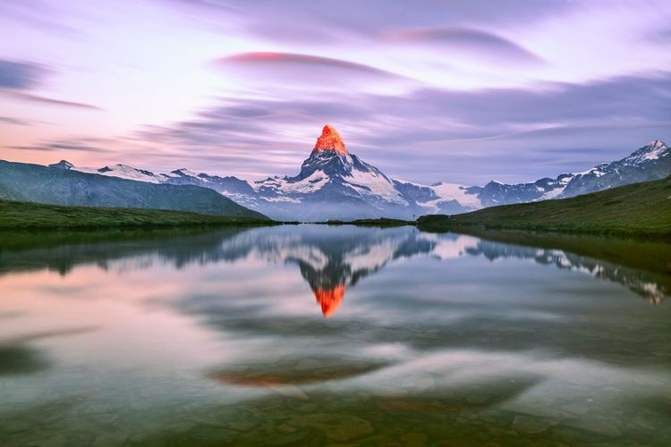 Zermatt Reflection Lake Mountain Beauty In Nature Snow Outdoors Landscape Scenics No People Tranquility Sunset Water Nature Mountain Peak Day