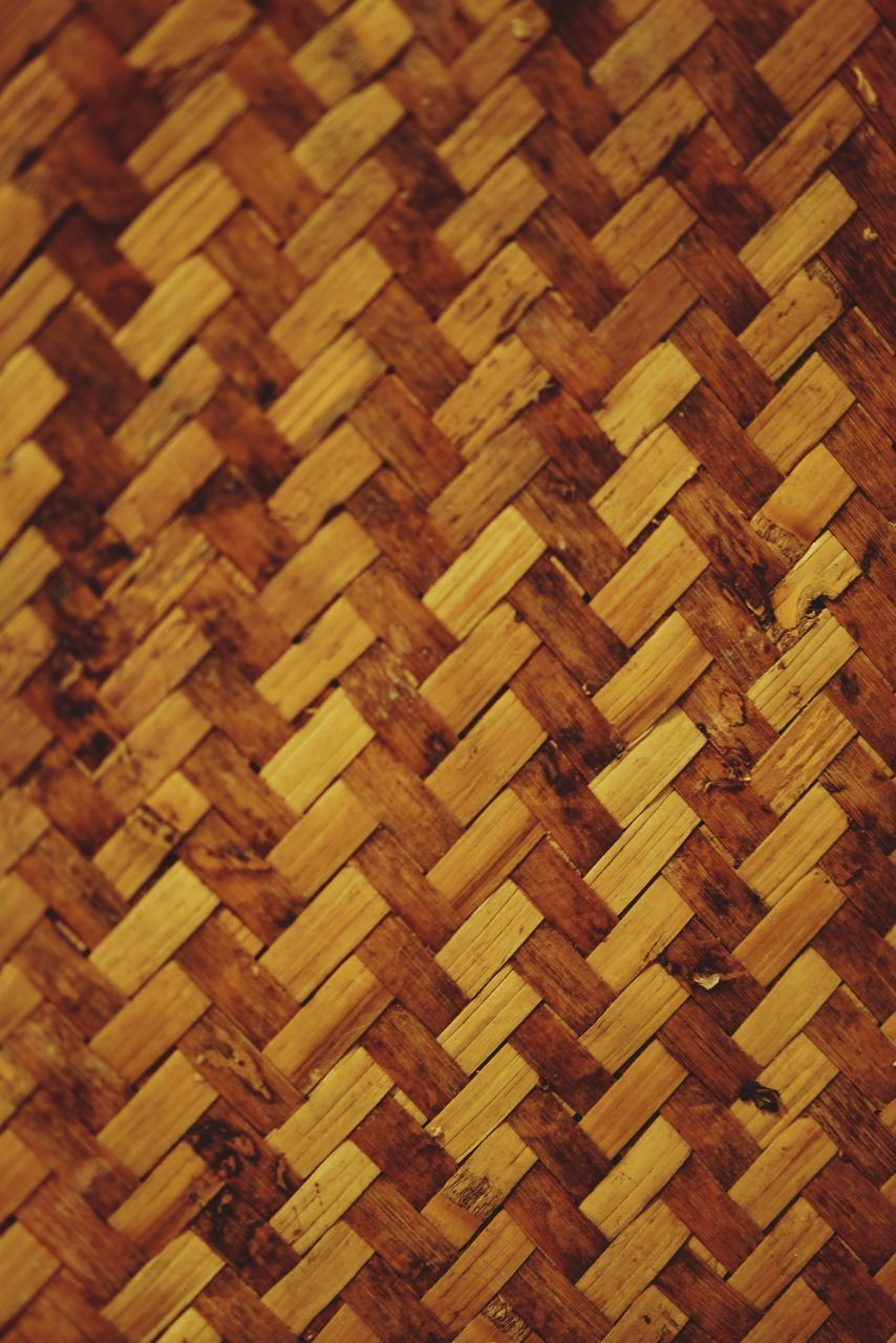 full frame, pattern, backgrounds, close-up, indoors, wicker, no people, brown, textured, wood - material, art and craft, woven, design, mat, creativity, repetition, textile, still life, craft, basket, crisscross
