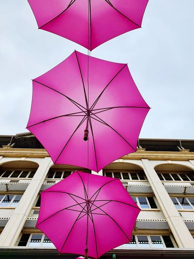 Pink umbrella Mauritius Pink Color Protection Security Low Angle View