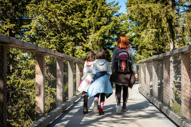 Rear view of women walking on footbridge