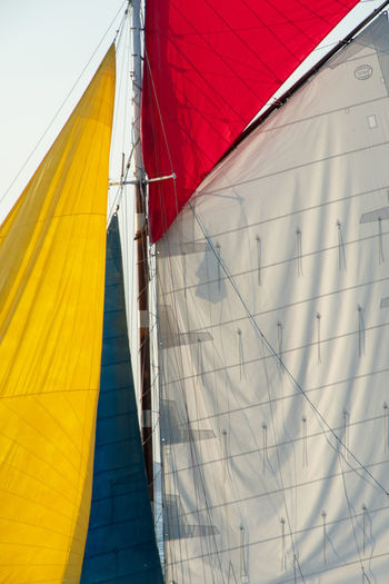 Low angle view of canvas on sailboat