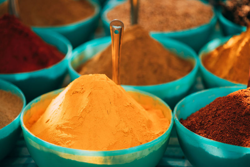 High angle view of spices for sale in market
