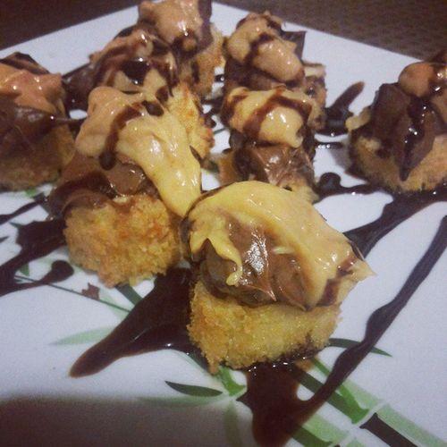 Melhor que viver: banana empanada + nutella + creme de paçoca! Japanese  Instafood Instagourmet