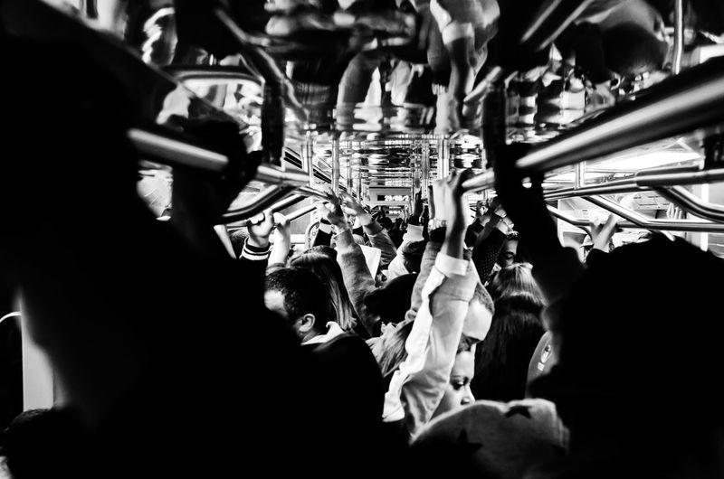 Interior of subway train during rush hour