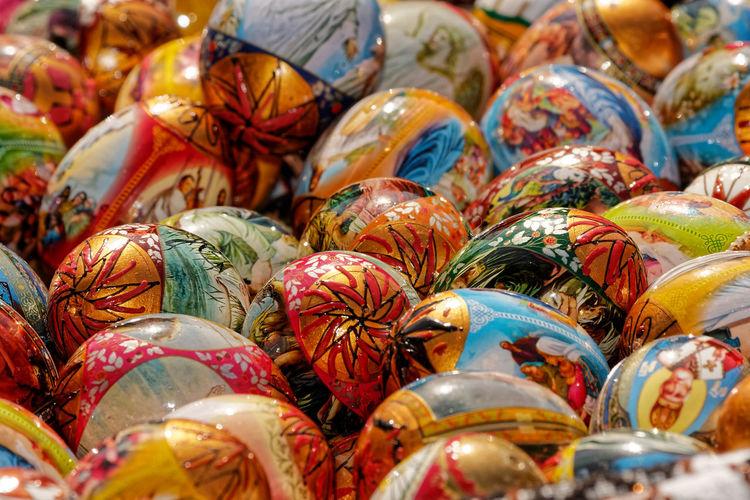 Full frame shot of decorated easter eggs