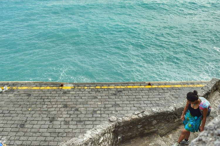 Water Sea High Angle View One Person Real People Standing Nature Only Women Positano, Italy Live For The Story