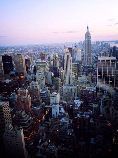 High angle view of urban skyline