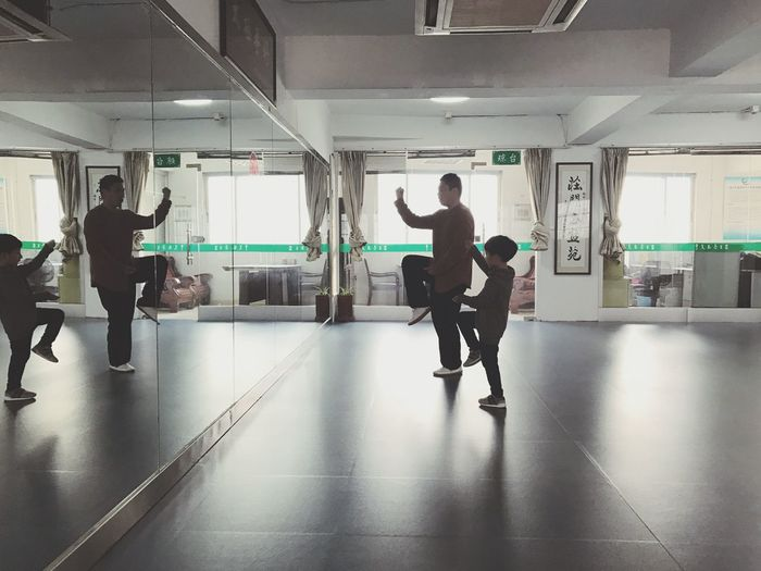 Taiji Kongfu. Indoors  Full Length Exercising Real People Learning Men Student Day People Adult