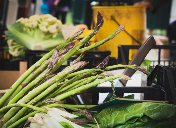 Asparagus vegetable raw food detail in market stall Vegetable Food And Drink Food Healthy Eating Green Color Freshness Wellbeing No People Still Life Focus On Foreground Table For Sale Close-up Indoors  Market Container Raw Food Market Stall Day Retail  Asparagus