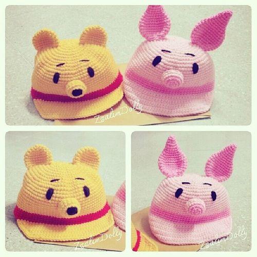 หมวกไหมพรม หมวก Pooh Piglet crochet hat cartoon disney winniethepooh handmade