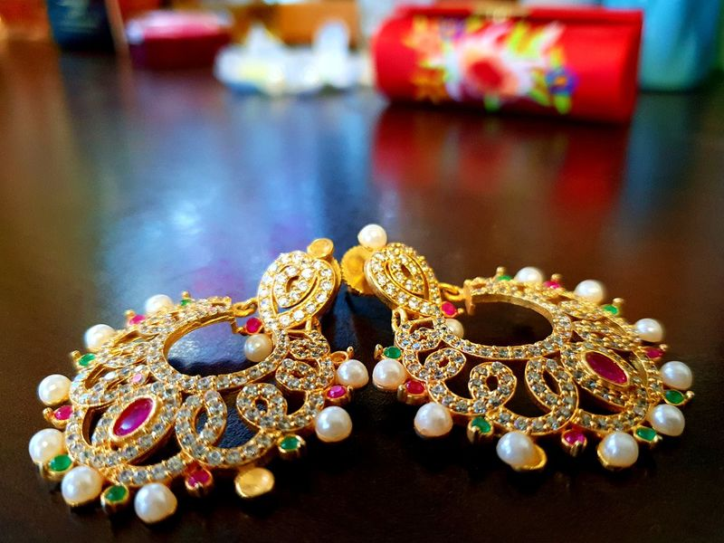 Colourful Stones Indian Luxury Jewelry Fashion Close-up Gemstone  Precious Gem Earring  Jewellery Ornament Semi-precious Gem Ruby Diamond - Gemstone Jeweller