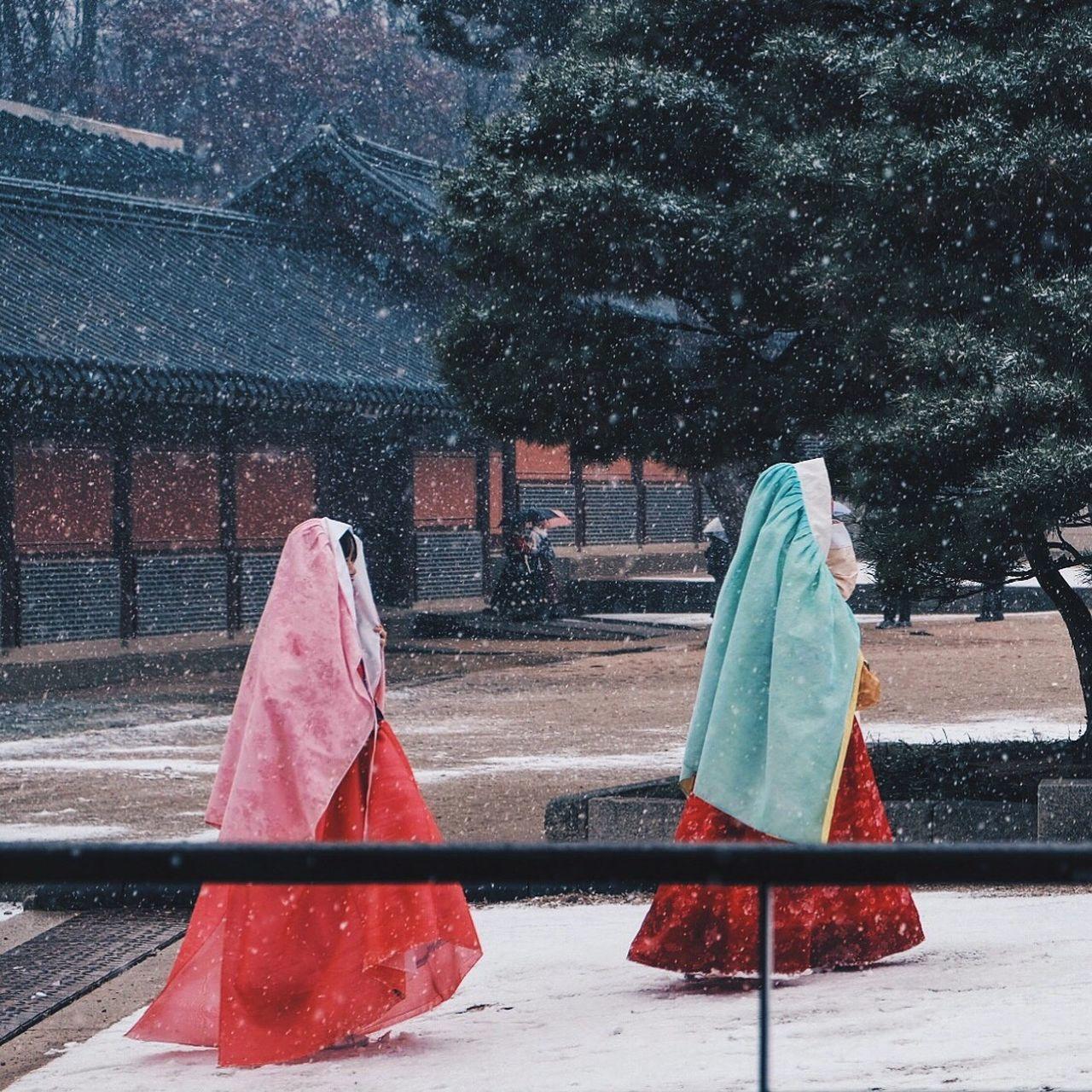 Girls Wearing Hanboks While Walking On Field During Winter