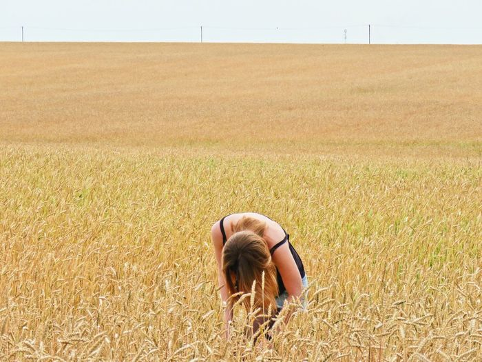 Woman on agricultural landscape