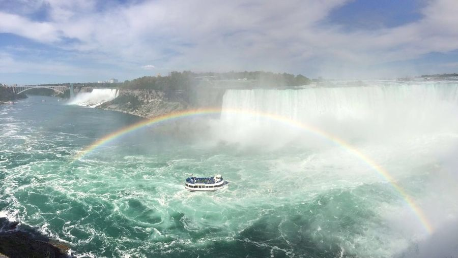 Niagara Falls What A View Tourist Water Rainbow Beautiful Nature Sea Blue Sky And Clouds