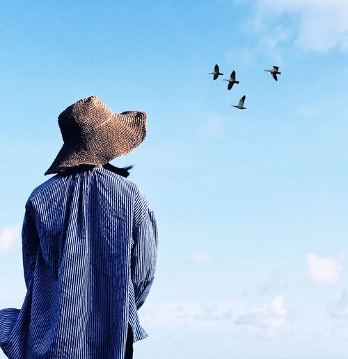 Rear view of woman looking at birds flying in blue sky