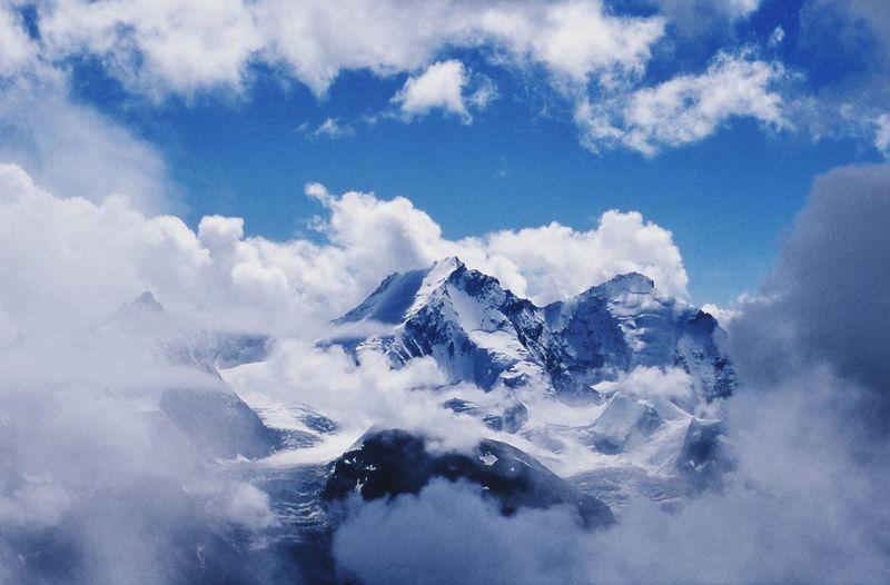 Mischabel Gruppe Sky Nice Weather FAR AWAY Travel Switzerland Alps Mountains Blue Motion Wave Sky Cloud - Sky Cumulus Cloud Fluffy Heaven Cloudscape