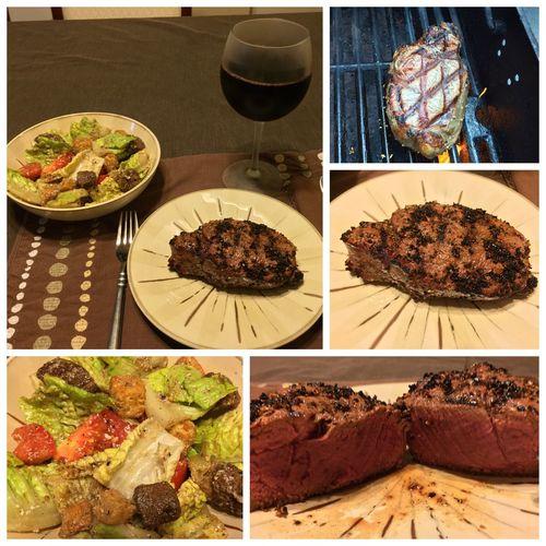 Tonight, I grilled a filet mignon, served with a nice salad and my homemade 2014 Italian Barolo wine ICanCookMyAssOff ItsAnItalianThing Grilling Steaks HomemadeItalianWine Nomnombomb Food Porn Awards MyFoodPics Food Porn