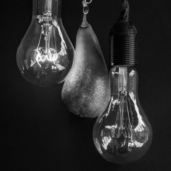 Birne, Lamp, Bulb, Elertische Lampe, Glühlampe, Lampenwendel, Wolframdraht Close-up Electricity  Fruit Glass - Material Hanging Indoors  Light Bulb Lighting Equipment Pear, Blach And White Technology The Still Life Photographer - 2018 EyeEm Awards