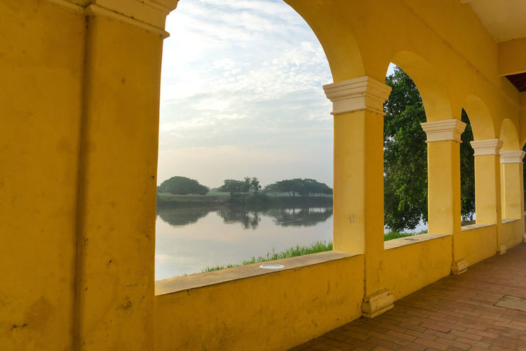 Scenic view of magdalena river seen through arch