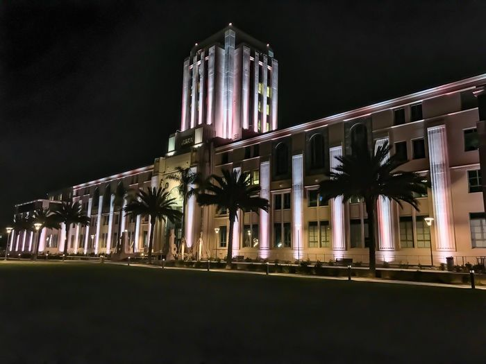 Architecture Night Built Structure Illuminated Building Exterior Architectural Column Travel Destinations History Low Angle View No People Palm Tree Sky Outdoors United States Sandiego