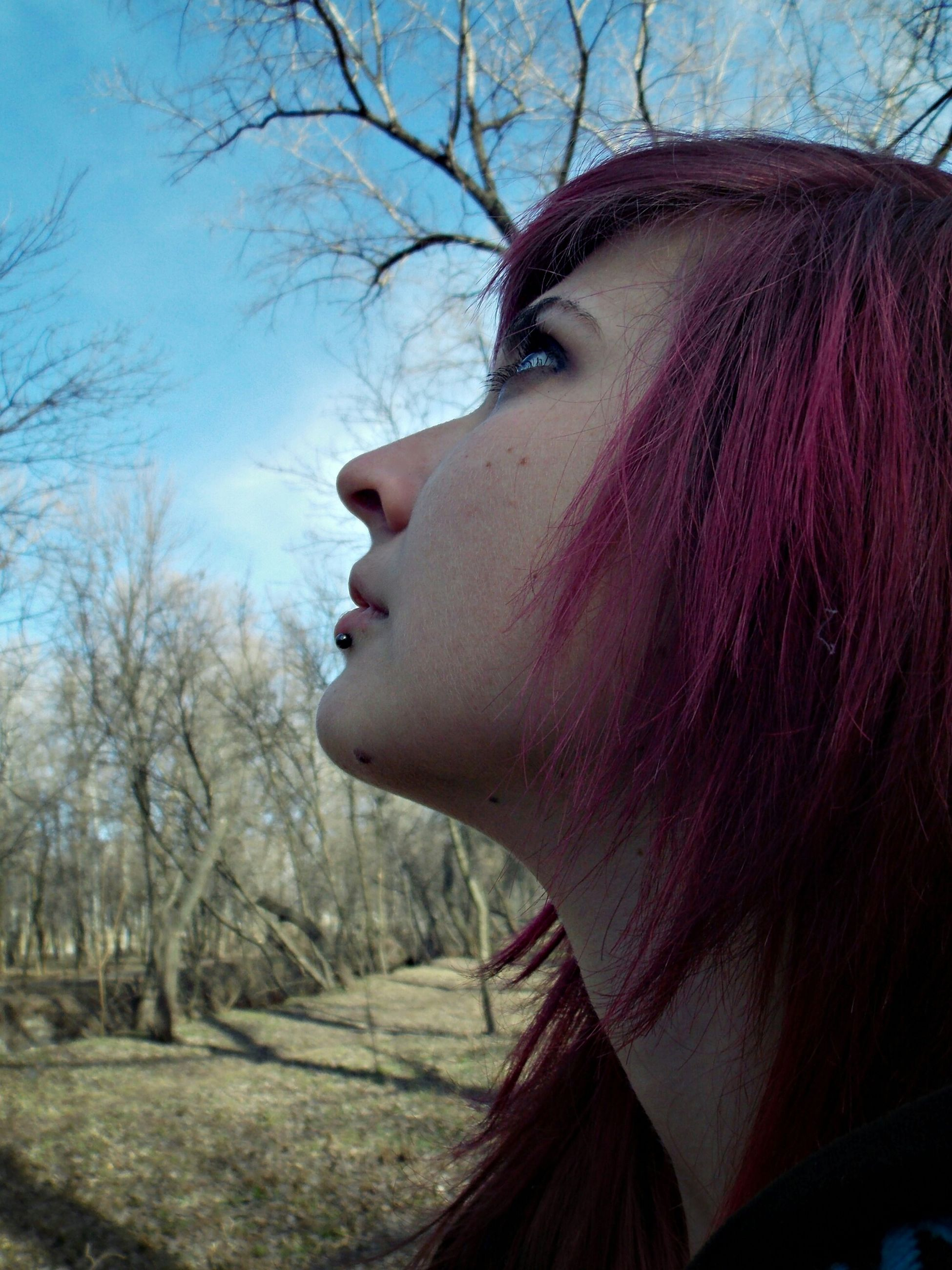 tree, bare tree, headshot, close-up, young adult, young women, long hair, lifestyles, focus on foreground, day, sunlight, outdoors, sky, leisure activity, branch, nature, person