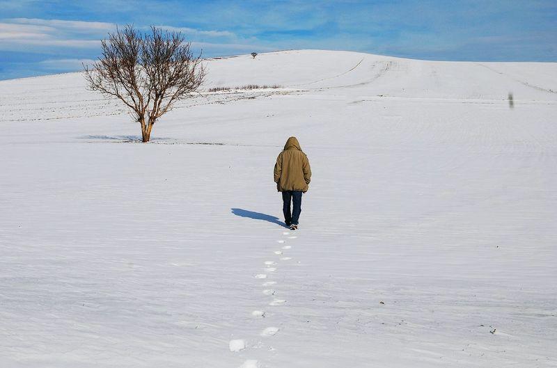 Full Length Adventure Snow Winter Rear View Sky Landscape