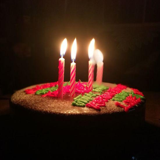 Candle Flame Birthday Cake Birthday Candles Celebration Birthday Cake Burning Sweet Food Life Events Heat - Temperature Dessert Table Indoors  Black Background Happy Birthday!